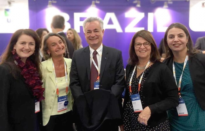 FAUBAI Board of directors next to Sabine Pendl, President of the EAIE - European Association for International Education, and Ambassador João Luiz Pereira Pinto, from the Embassy of Brazil in Helsinki.