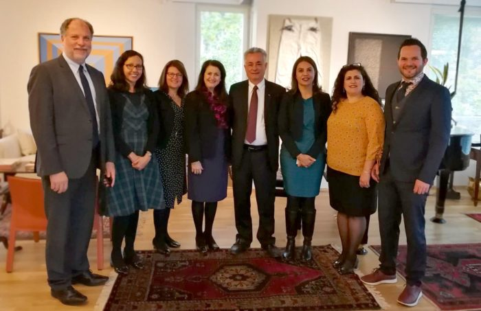 Meeting of FAUBAI board of directors and other brazilian universities representatives with the Ambassador João Luiz Pereira Pinto, from the Embassy of Brazil in Helsinki, during the EAIE Conference.